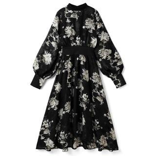 グレイル(GRL)のGRL 花柄シフォンワンピース ブラック 黒 新作 人気 ドレス フラワー 上品(ロングワンピース/マキシワンピース)