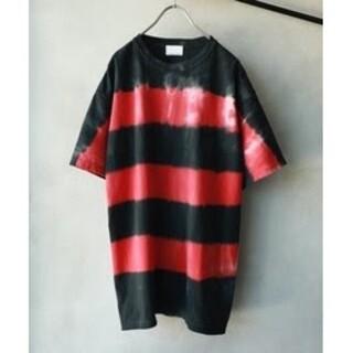 ナンバーナイン(NUMBER (N)INE)のナンバーナイン タイダイ ボーダー ボックスロゴ 刺繍 Lサイズ レア(Tシャツ/カットソー(半袖/袖なし))