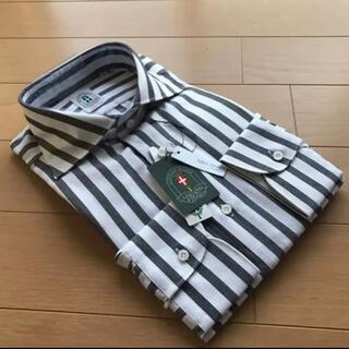 スーツカンパニー(THE SUIT COMPANY)のスーツカンパニー長袖ドレスシャツM39-86cm カッタウェイ絡み織 ストライプ(シャツ)