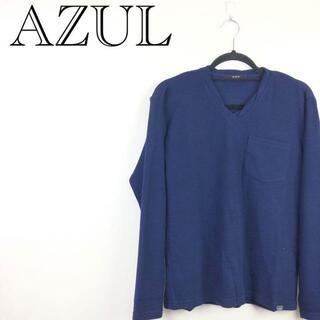 AZUL by moussy - 【送料無料】【未使用品】アズール AZUL フクレ天竺 Vネック 長袖T