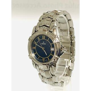 FENDI - 美品! FENDI メンズ腕時計 電池新品交換済み ブルー文字盤 Fロゴ