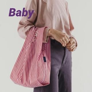 BAGGU エコバッグ ベビー baby チェリーレッド&ピンクストライプ 新品(エコバッグ)
