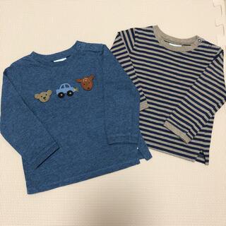 ネクスト(NEXT)のnext  長袖 ロンT  青 ボーダー 2点セット 80(Tシャツ)