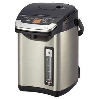 タイガー 電気ポット 3L ブラック 蒸気レス 節電 VE 保温 給湯量表示機能
