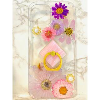 iPhoneケース、iPhoneカバー、押し花ケース、スマホケース、リング付き(スマホケース)