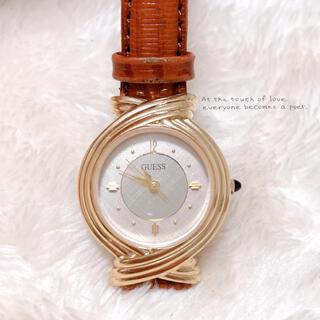 ゲス(GUESS)の【GUESS】ゴールド×茶ベルト 腕時計 稼働品 美品 ゲス ヴィンテージ(腕時計)