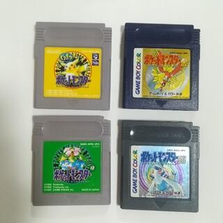 ゲームボーイ(ゲームボーイ)の4本 セット ゲームボーイ ポケットモンスター ピカチュウ 緑 金 銀(携帯用ゲームソフト)