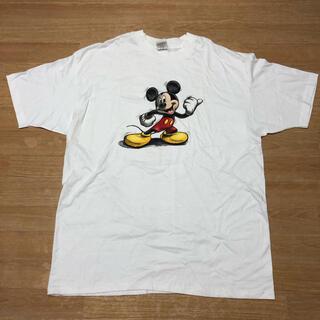 ディズニー(Disney)の新古 90s USA製 Disney ミッキーマウス 絵コンテ風 Tシャツ XL(Tシャツ/カットソー(半袖/袖なし))