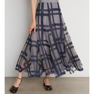 スナイデル(snidel)のスナイデルチュールエンブロイダリースカート新品未使用2021新作(ロングスカート)