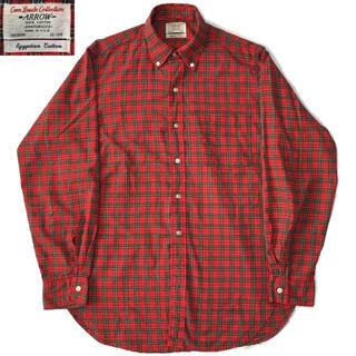 アロー(ARROW)の60s ARROW チェック ボタンダウン シャツ 赤 ビンテージ(シャツ)