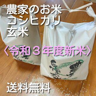 農家のお米 新米 令和3年度 コシヒカリ 玄米 約10kg(5k×2) 送料無料(米/穀物)