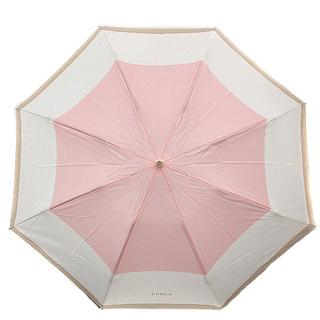 フルラ(Furla)のフルラ 折りたたみ傘 ロゴ 白 ピンク(傘)