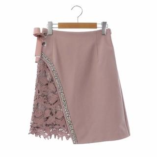 リリーブラウン(Lily Brown)のリリーブラウン キャンディストック ビジューレーススカート 台形 ひざ丈 ピンク(ひざ丈スカート)