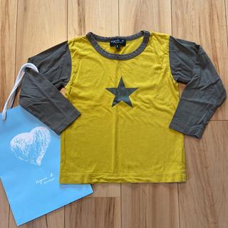 アニエスベー(agnes b.)の【美品】アニエス・ベー 辛子×カーキ バイカラー 星プリント Tシャツ 6ans(Tシャツ/カットソー)