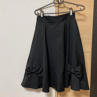 リリーブラウン(Lily Brown)のリボン フレア フリル スカート ロング 膝丈 レディース 黒 ブラック M L(ひざ丈スカート)