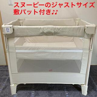 Aprica - 良品 ベビーベッド ココネル スヌーピー敷パット付