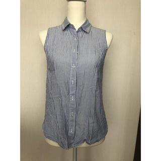 エヌナチュラルビューティーベーシック(N.Natural beauty basic)のストライプ ビジュー襟 ノースリーブシャツ (シャツ/ブラウス(半袖/袖なし))