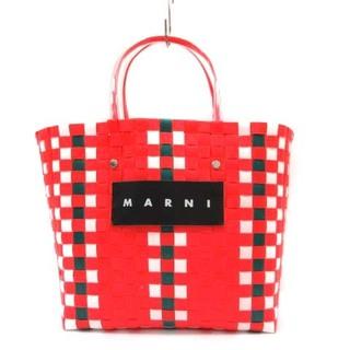 マルニ(Marni)のマルニ MARNI フラワーカフェカゴバッグ トートバッグ 赤(かごバッグ/ストローバッグ)