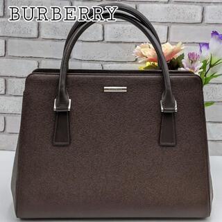 バーバリー(BURBERRY)の【正規美品】BURBERRY ハンドバッグ 裏地ノバチェック ブラウン レザー(ハンドバッグ)