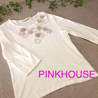 ピンクハウス(PINK HOUSE)のPINKHOUSE⭐トップス⭐カットソー⭐L⭐白⭐花⭐モチーフ⭐レース⭐七分丈(カットソー(長袖/七分))
