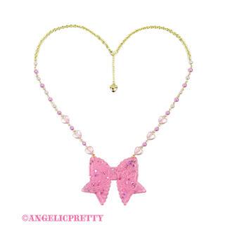 アンジェリックプリティー(Angelic Pretty)のangelic pretty  きらめき リボン ネックレス ピンク(ネックレス)