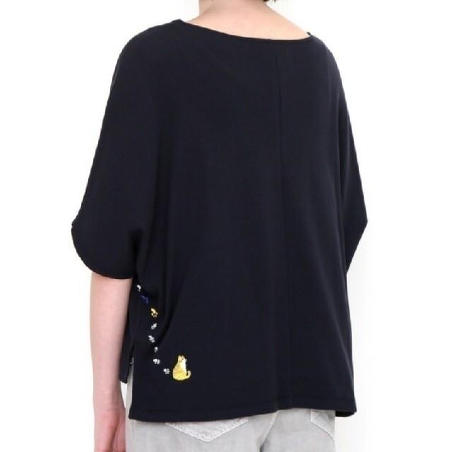 Graniph(グラニフ)の新品 グラニフ ミドルスリーブ ドルマン Tシャツ (紺系) ねこ ネコ 猫 レディースのトップス(カットソー(長袖/七分))の商品写真