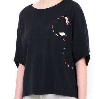 Graniph - 新品 グラニフ ミドルスリーブ ドルマン Tシャツ (紺系) ねこ ネコ 猫