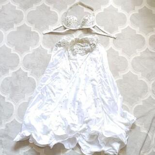 ベリーダンス 衣装 ホワイト ブラ&スカート セット(衣装一式)