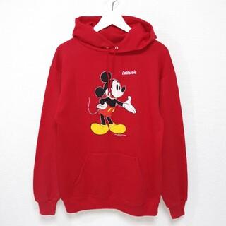 ミッキーマウス(ミッキーマウス)のL 90s ミッキー MICKEY パーカー JERZEES 赤 USA製(パーカー)