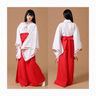【新品】巫女 コスプレ ハロウィン 衣装 白衣・緋袴・上指糸・腰巻・リボンセット(衣装一式)