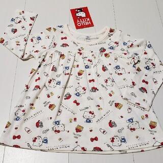 ハローキティ(ハローキティ)の新品タグ付きハローキティ総柄Aライン長袖Tシャツ95センチサンリオロンT(Tシャツ/カットソー)