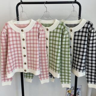 GOGOSING - ギンガムチェック ニット カーディガン 韓国ファッション