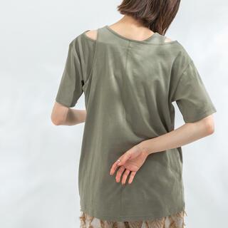 ケービーエフ(KBF)のアシメレイヤードTシャツ/重ね着トップス/カーキ/新品(Tシャツ(半袖/袖なし))