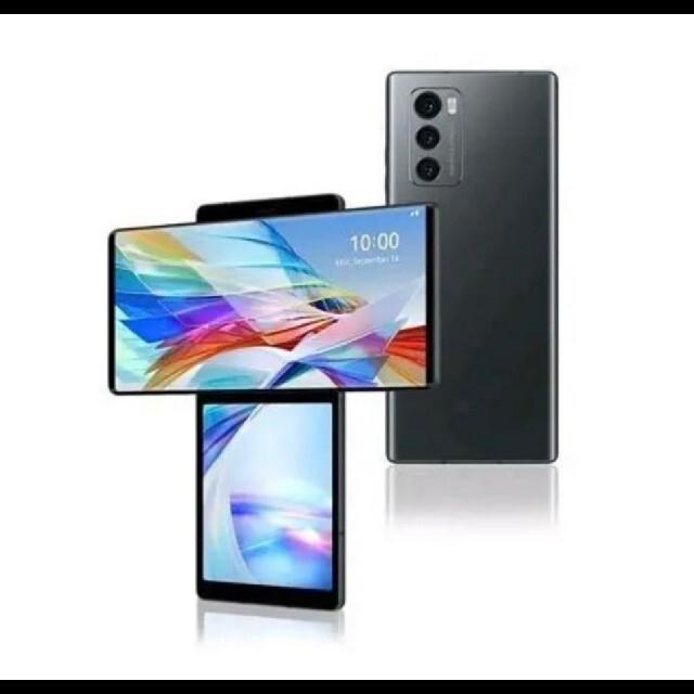 LG Electronics(エルジーエレクトロニクス)の希少!【新品未使用】LG WING 128GB オーロラグレー スマホ/家電/カメラのスマートフォン/携帯電話(スマートフォン本体)の商品写真