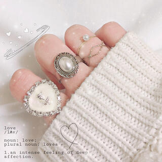 ミニハートビジューリング(ホワイト) 指輪 ハンドメイド