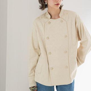 ケービーエフ(KBF)のジャガードコックシャツ/ジャガードジャケット/ベージュ/新品(テーラードジャケット)