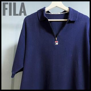 フィラ(FILA)の激レア FILA フィラ ネイビー 紺色 ポロシャツ 半袖 ビッグシルエット(ポロシャツ)