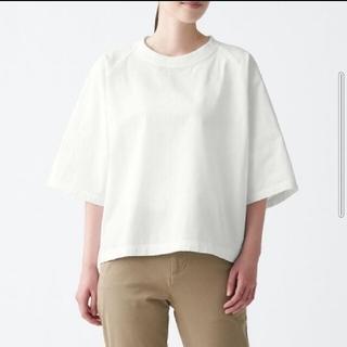 ムジルシリョウヒン(MUJI (無印良品))の無印良品 インド綿洗いざらし五分袖布帛Tシャツ白 M-L(シャツ/ブラウス(半袖/袖なし))