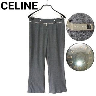 セリーヌ(celine)の美品 CELINE ストレートパンツ スラックス ロゴ金具 レディース 42(カジュアルパンツ)