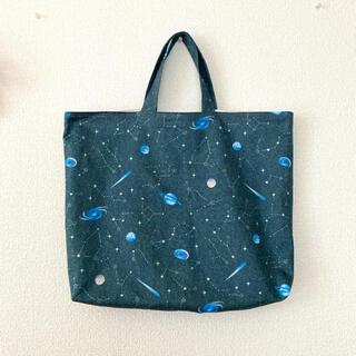 レッスンバッグ[デニム 風 ブルー グレー の シンプル な 宇宙 柄]通園通学(バッグ/レッスンバッグ)