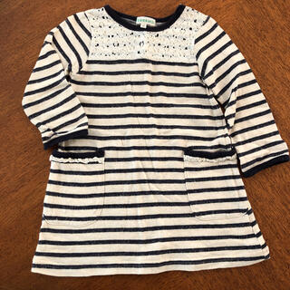サンカンシオン(3can4on)の三寒四温 ボーダーワンピース 長袖 90 ネイビー(ワンピース)