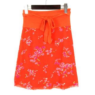 ヴィヴィアンタム(VIVIENNE TAM)のヴィヴィアンタム VIVIENNE TAM ミニ スカート 切替 花柄 オレンジ(ひざ丈スカート)