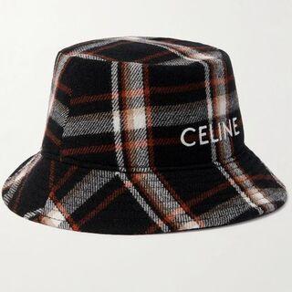セリーヌ(celine)のレア新作 新品 celine セリーヌ ウール 刺繡ロゴ バケット ハット(ハット)