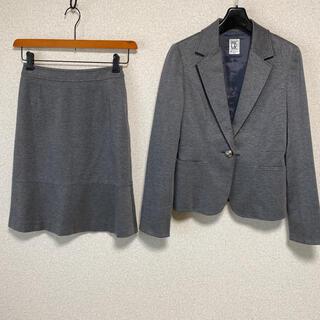 ミッシェルクラン(MICHEL KLEIN)のミッシェルクラン スカートスーツ 上38下36 W60 ストレッチ グレーDMW(スーツ)
