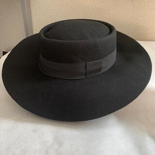 アニエスベー(agnes b.)のフェルトデザインつば広帽子☆ブラック(ハット)
