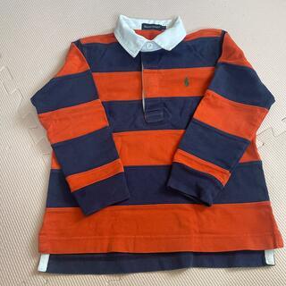 ラルフローレン オレンジ×紺 長袖 ラガーシャツ 110㎝(Tシャツ/カットソー)