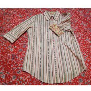 ポールスミス(Paul Smith)のポール スミス ピンク×グレー ストライプシャツ 五分袖 半袖(シャツ/ブラウス(半袖/袖なし))