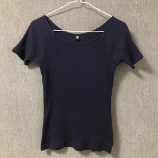 ユニクロ(UNIQLO)のUNIQLO リブニット 半袖 Mサイズ ネイビー 紺色 シンプル 無地 大人(その他)