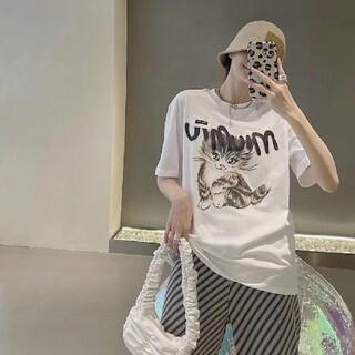 ミュウミュウ(miumiu)のミュウミュウ miumiu 猫半袖Tシャツ Lサイズ(Tシャツ(半袖/袖なし))