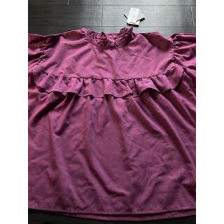 新品 秋色フリル付きパープルブラウス(シャツ/ブラウス(半袖/袖なし))